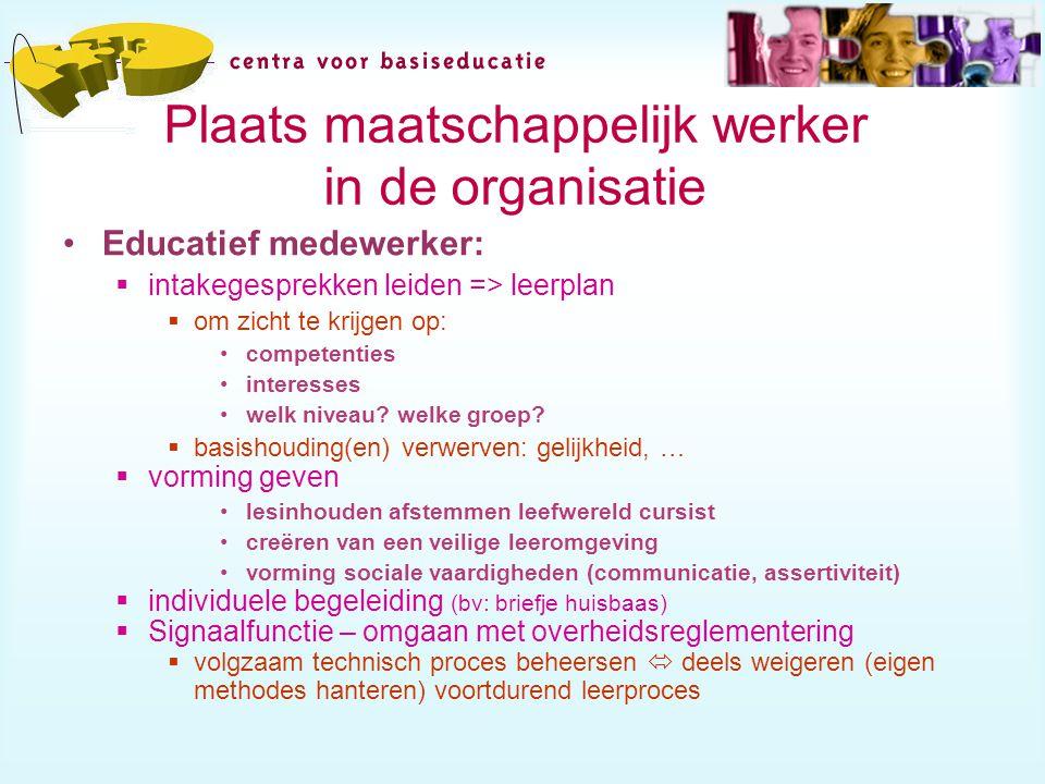 Plaats maatschappelijk werker in de organisatie