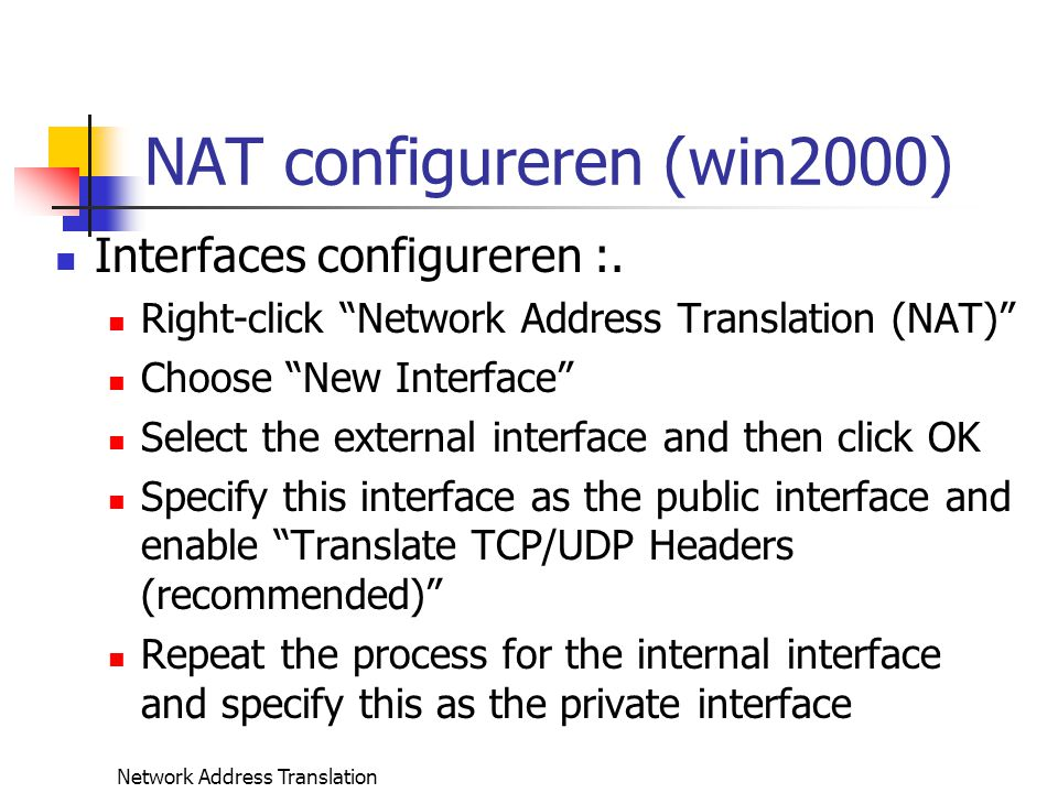 NAT configureren (win2000)