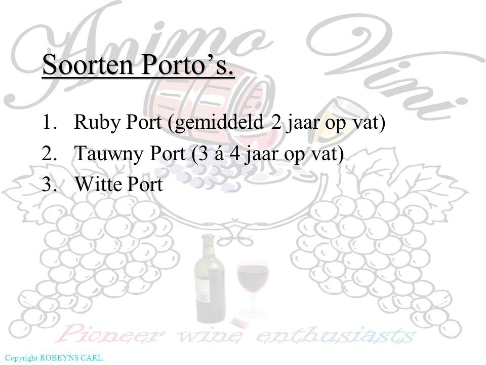Soorten Porto's. Ruby Port (gemiddeld 2 jaar op vat)