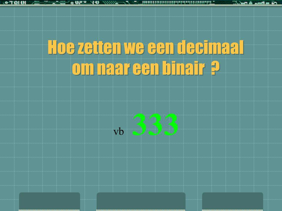Hoe zetten we een decimaal om naar een binair
