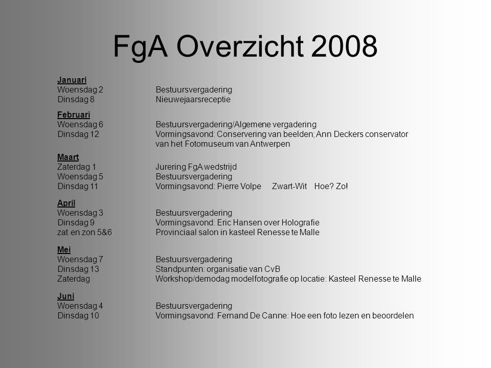 FgA Overzicht 2008 Januari Woensdag 2 Bestuursvergadering Dinsdag 8 Nieuwejaarsreceptie.