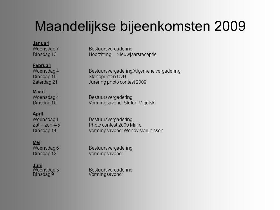 Maandelijkse bijeenkomsten 2009