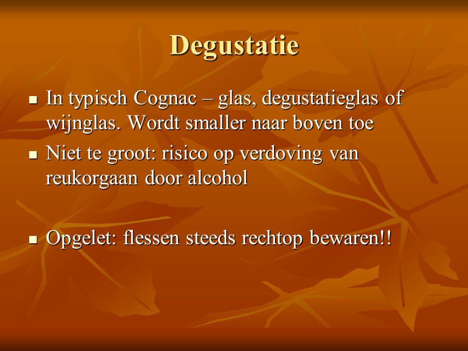 Degustatie In typisch Cognac – glas, degustatieglas of wijnglas. Wordt smaller naar boven toe.