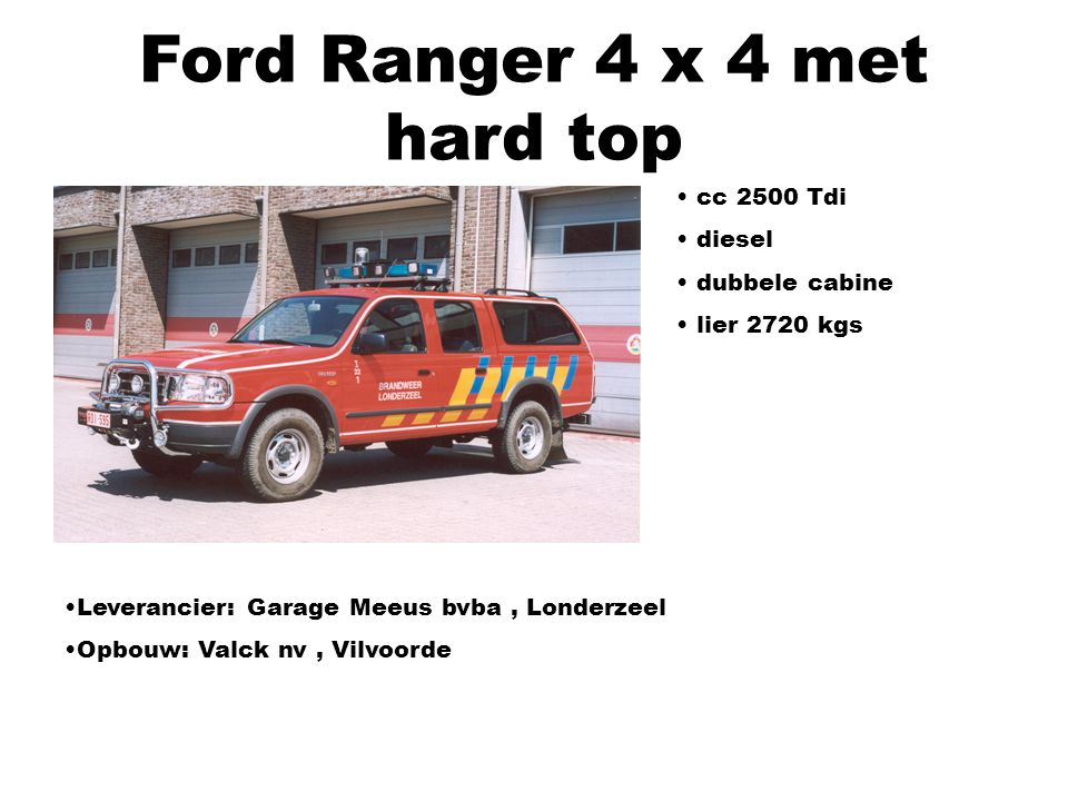Ford Ranger 4 x 4 met hard top