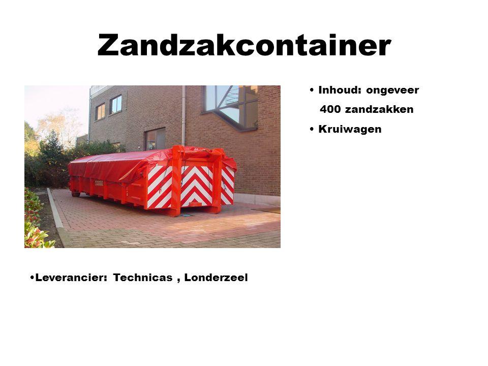 Zandzakcontainer Inhoud: ongeveer 400 zandzakken Kruiwagen