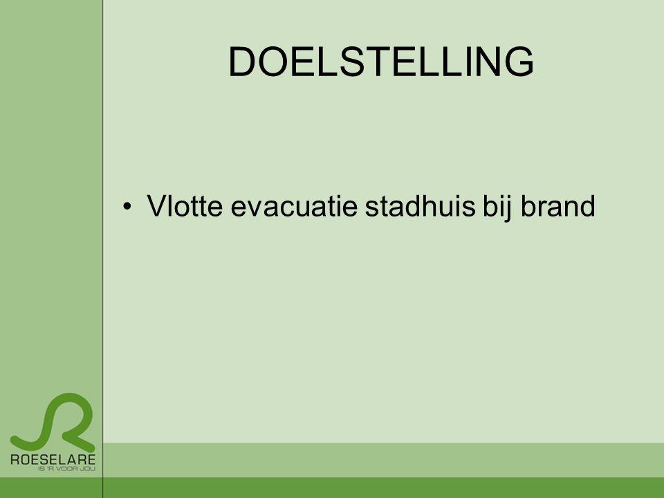 DOELSTELLING Vlotte evacuatie stadhuis bij brand