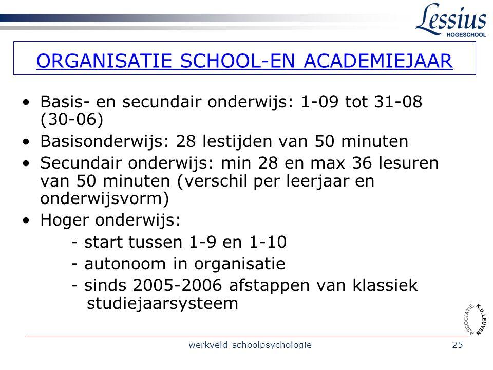 ORGANISATIE SCHOOL-EN ACADEMIEJAAR