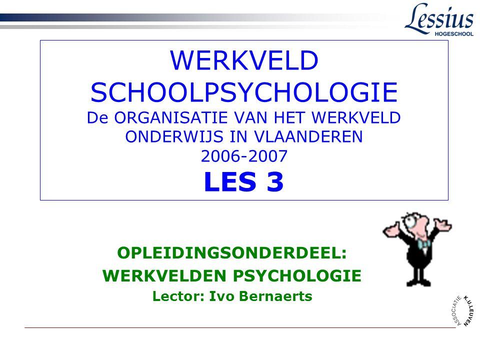 OPLEIDINGSONDERDEEL: WERKVELDEN PSYCHOLOGIE Lector: Ivo Bernaerts