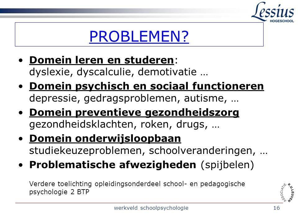 werkveld schoolpsychologie