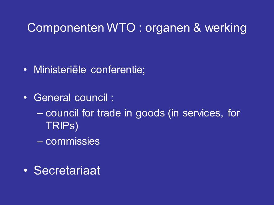 Componenten WTO : organen & werking