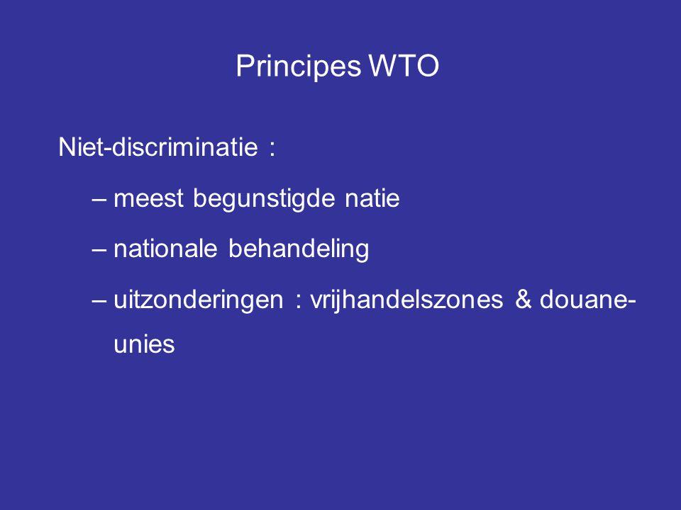 Principes WTO Niet-discriminatie : meest begunstigde natie