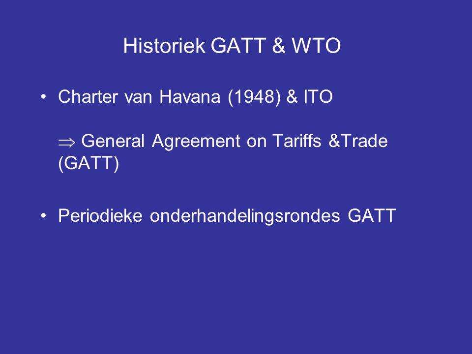 Historiek GATT & WTO Charter van Havana (1948) & ITO  General Agreement on Tariffs &Trade (GATT) Periodieke onderhandelingsrondes GATT.
