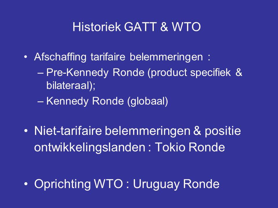 Historiek GATT & WTO Afschaffing tarifaire belemmeringen :
