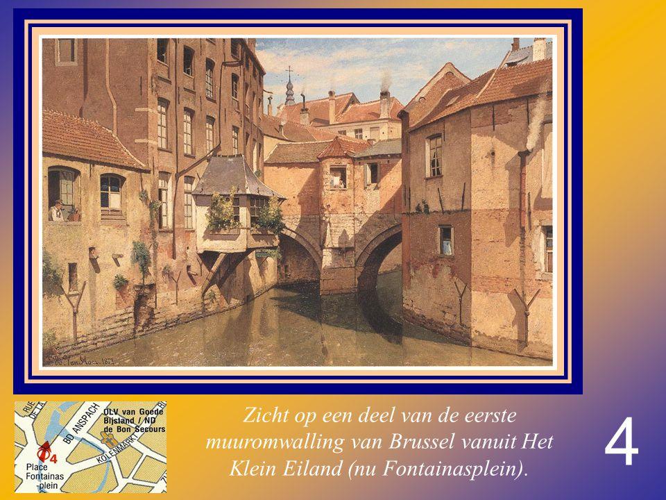 Zicht op een deel van de eerste muuromwalling van Brussel vanuit Het Klein Eiland (nu Fontainasplein).