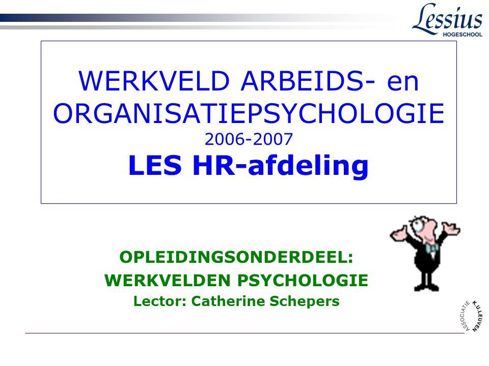 WERKVELD ARBEIDS- en ORGANISATIEPSYCHOLOGIE 2006-2007 LES HR-afdeling