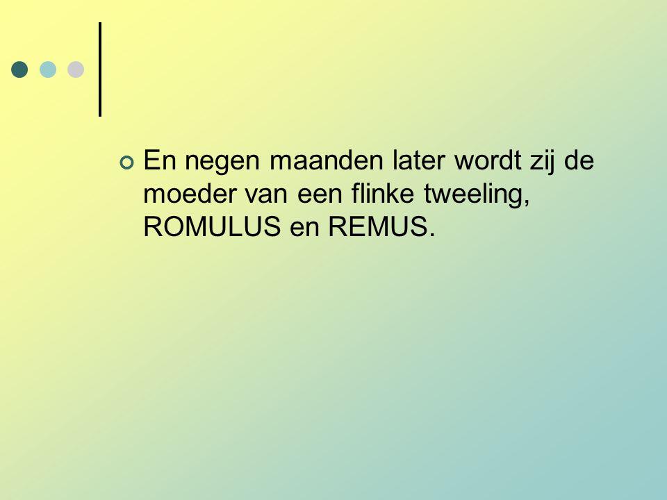 En negen maanden later wordt zij de moeder van een flinke tweeling, ROMULUS en REMUS.