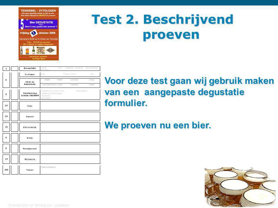 Test 2. Beschrijvend proeven Voor deze test gaan wij gebruik maken