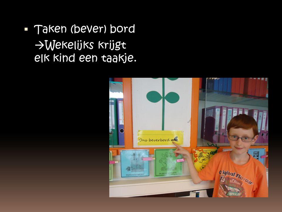 Taken (bever) bord Wekelijks krijgt elk kind een taakje.
