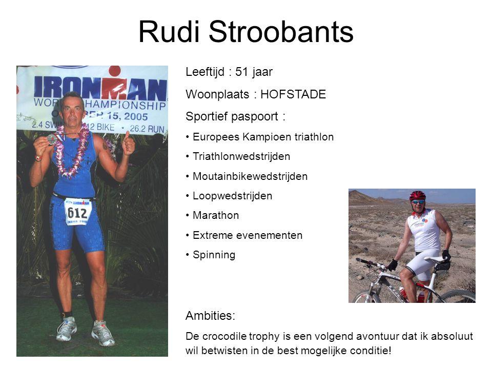 Rudi Stroobants Leeftijd : 51 jaar Woonplaats : HOFSTADE