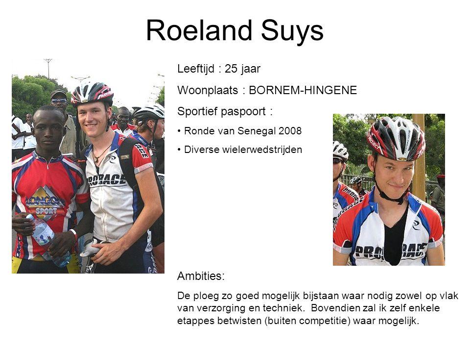 Roeland Suys Leeftijd : 25 jaar Woonplaats : BORNEM-HINGENE