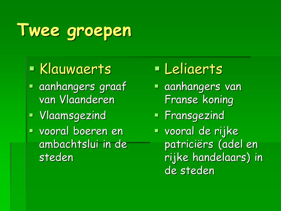 Twee groepen Klauwaerts Leliaerts aanhangers graaf van Vlaanderen
