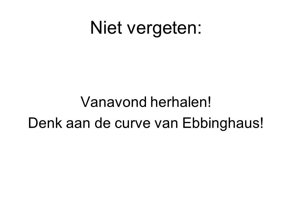 Denk aan de curve van Ebbinghaus!