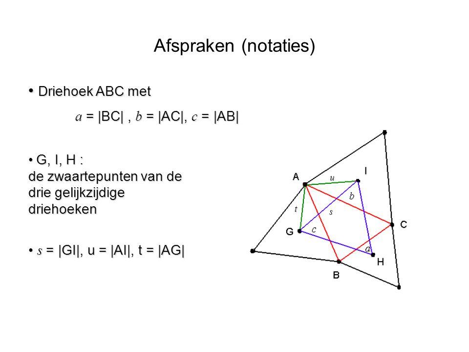 Afspraken (notaties) Driehoek ABC met a = |BC| , b = |AC|, c = |AB|