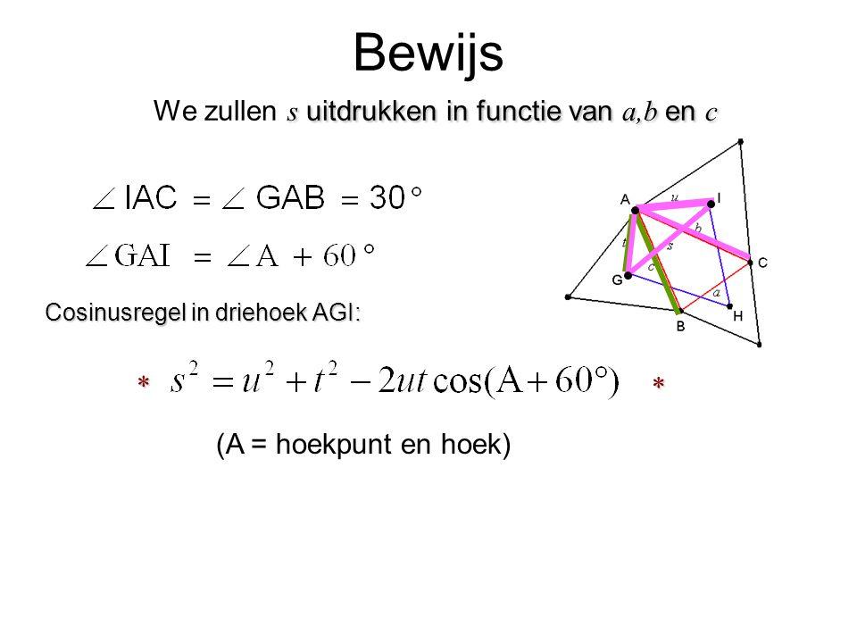 Bewijs We zullen s uitdrukken in functie van a,b en c