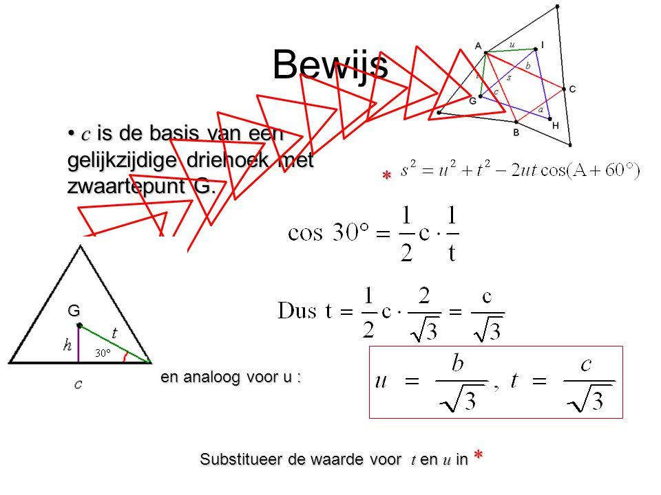 Bewijs c is de basis van een gelijkzijdige driehoek met zwaartepunt G.