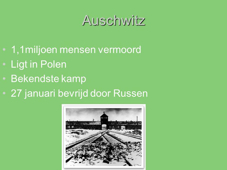 Auschwitz 1,1miljoen mensen vermoord Ligt in Polen Bekendste kamp