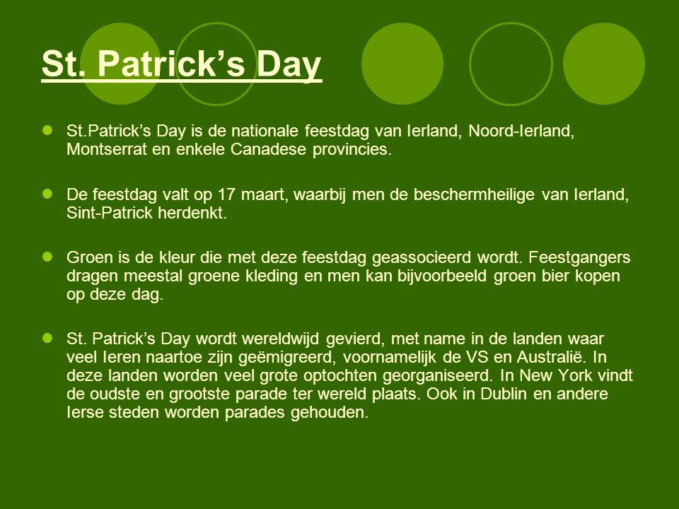 St. Patrick's Day St.Patrick's Day is de nationale feestdag van Ierland, Noord-Ierland, Montserrat en enkele Canadese provincies.