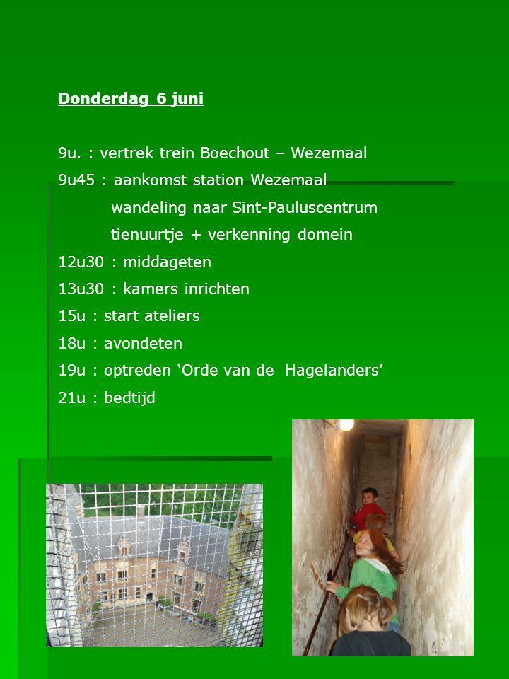 Donderdag 6 juni 9u. : vertrek trein Boechout – Wezemaal. 9u45 : aankomst station Wezemaal. wandeling naar Sint-Pauluscentrum.
