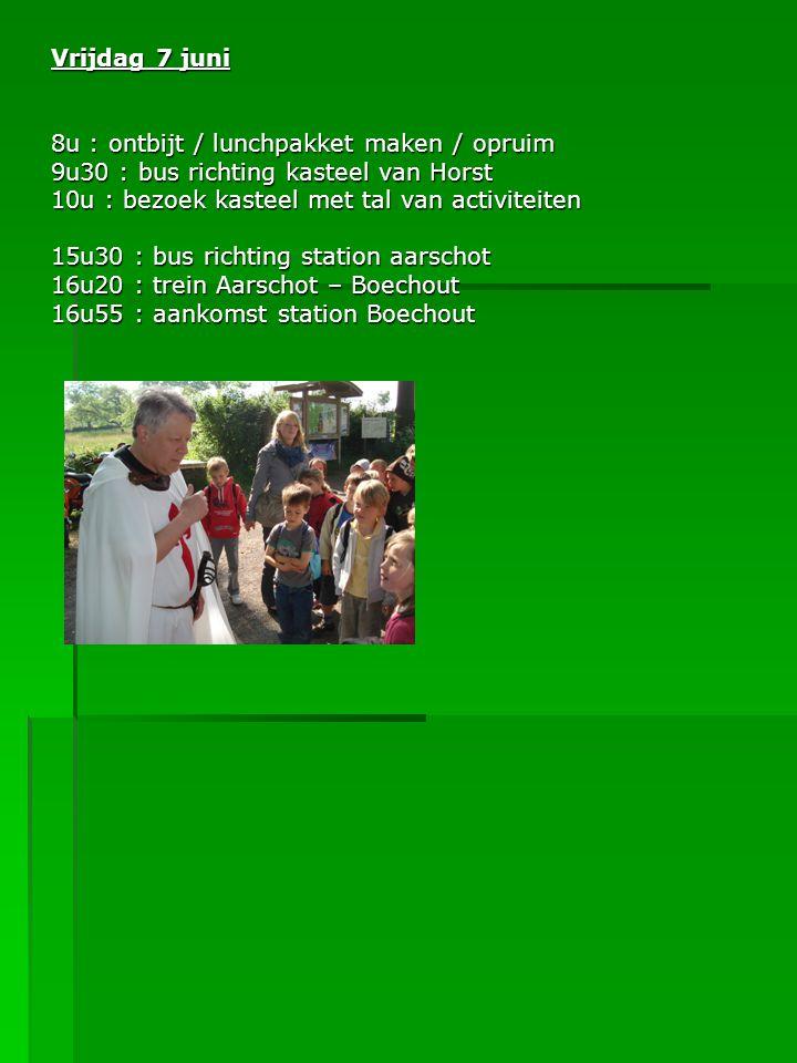 Vrijdag 7 juni 8u : ontbijt / lunchpakket maken / opruim 9u30 : bus richting kasteel van Horst 10u : bezoek kasteel met tal van activiteiten 15u30 : bus richting station aarschot 16u20 : trein Aarschot – Boechout 16u55 : aankomst station Boechout