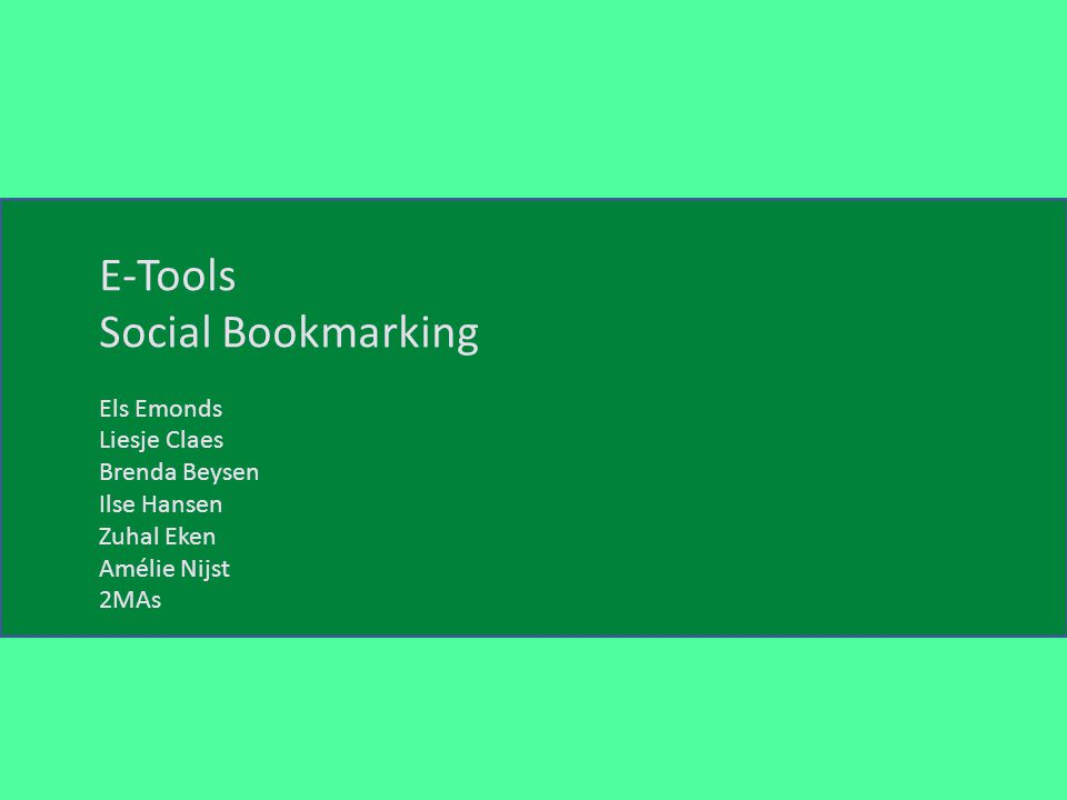Social Bookmarking E-Tools Social Bookmarking