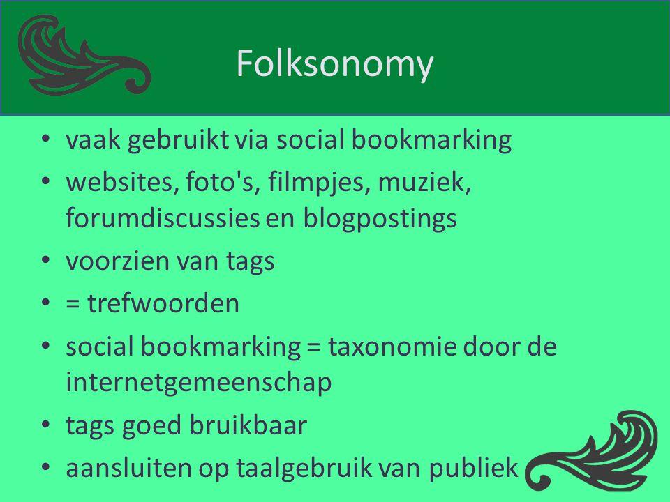 Folksonomy vaak gebruikt via social bookmarking