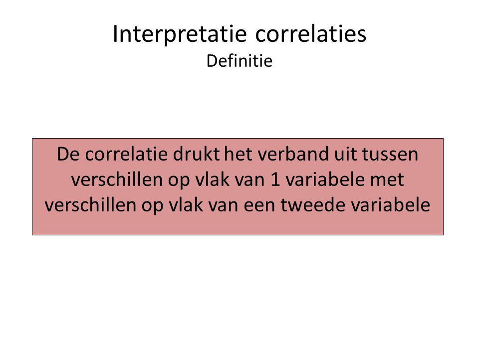 Interpretatie correlaties Definitie