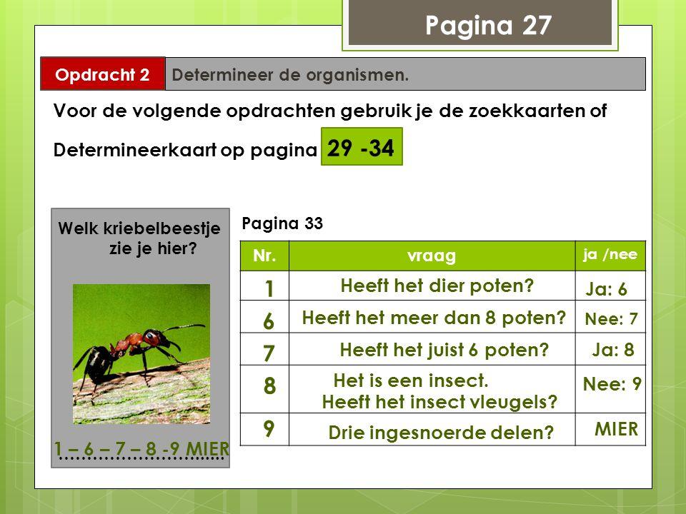 Pagina 27 Opdracht 2. Determineer de organismen. Voor de volgende opdrachten gebruik je de zoekkaarten of.