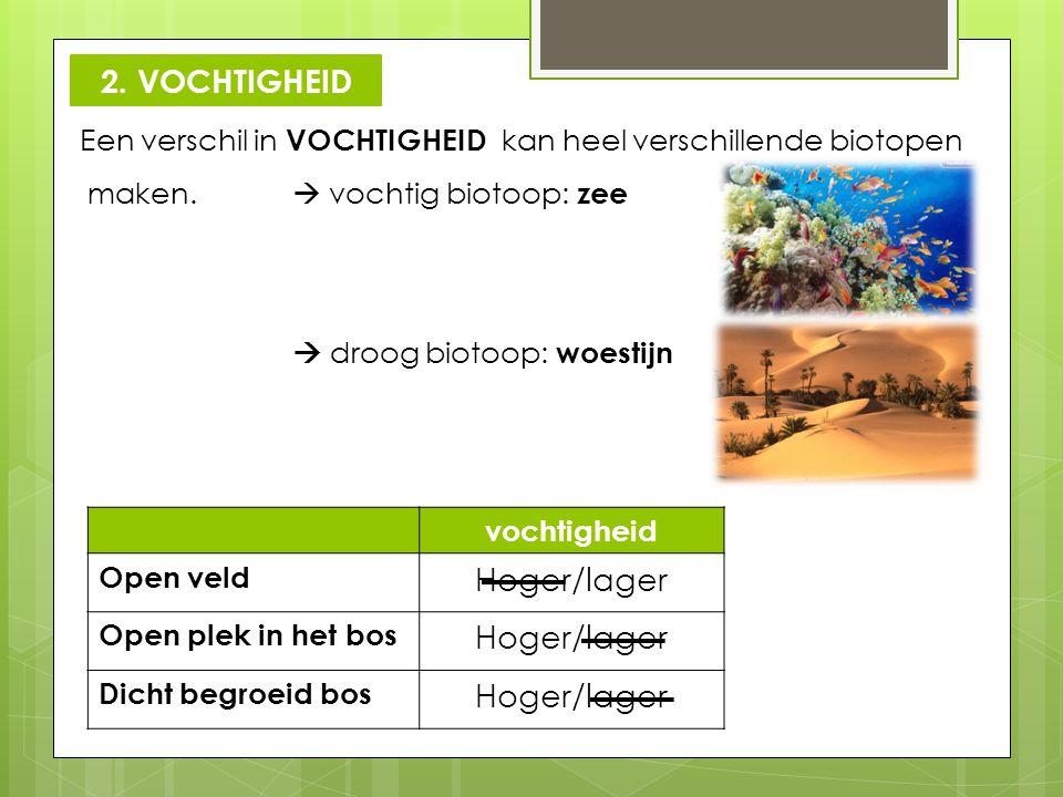 2. VOCHTIGHEID Hoger/lager