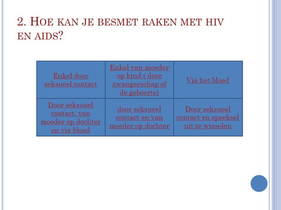 2. Hoe kan je besmet raken met hiv en aids