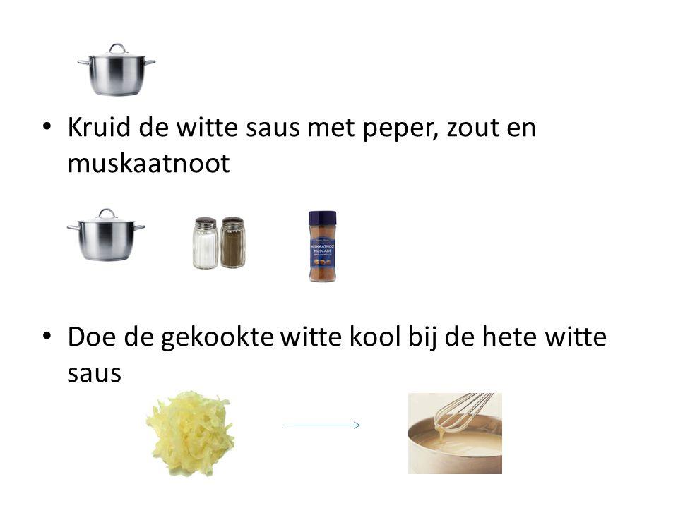 Kruid de witte saus met peper, zout en muskaatnoot
