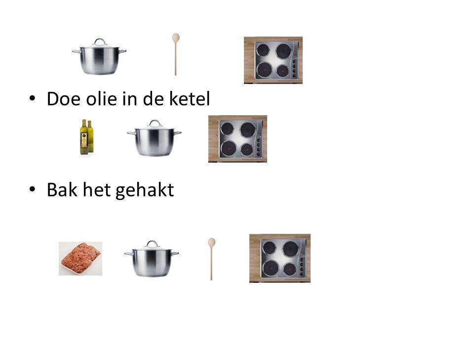 Doe olie in de ketel Bak het gehakt