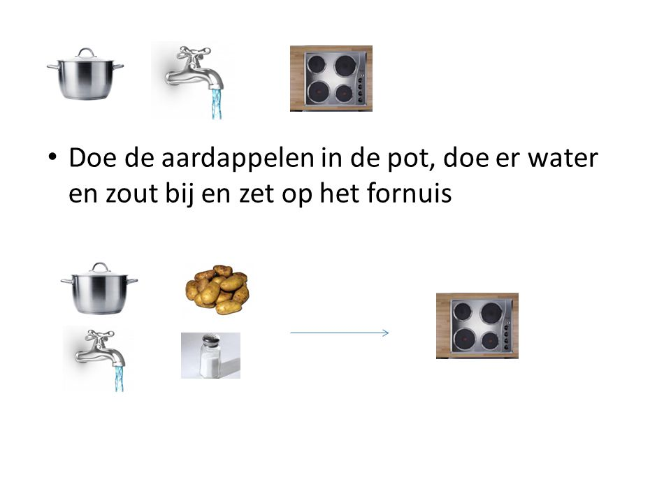 Doe de aardappelen in de pot, doe er water en zout bij en zet op het fornuis