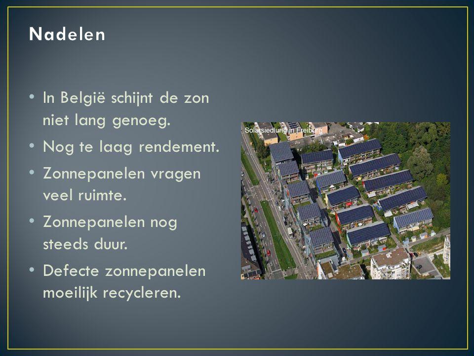 Nadelen In België schijnt de zon niet lang genoeg.