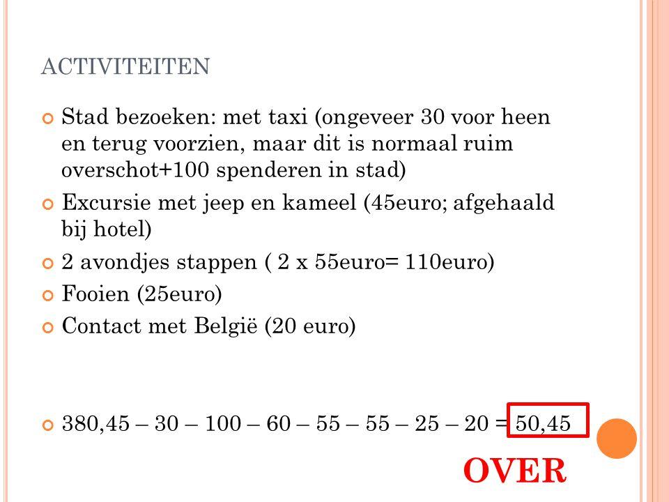 activiteiten Stad bezoeken: met taxi (ongeveer 30 voor heen en terug voorzien, maar dit is normaal ruim overschot+100 spenderen in stad)