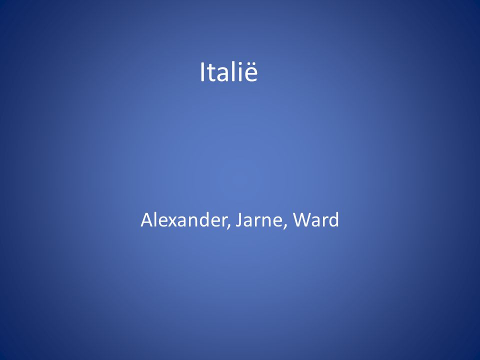 Italië Alexander, Jarne, Ward