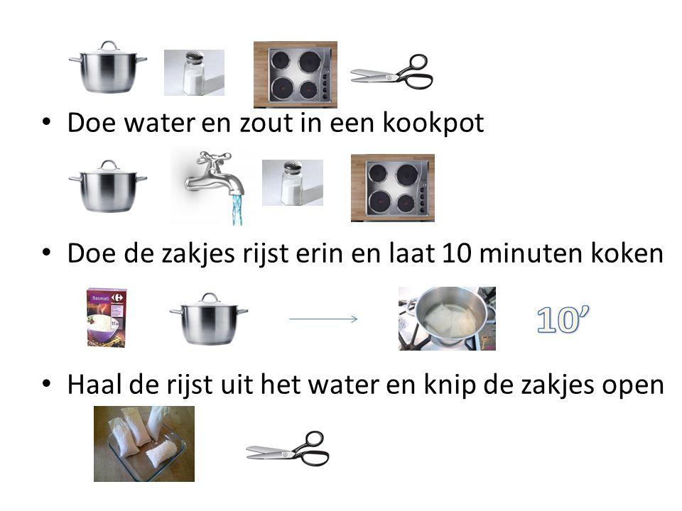 Doe water en zout in een kookpot