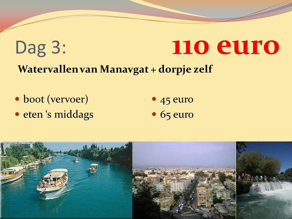 110 euro Dag 3: Watervallen van Manavgat + dorpje zelf boot (vervoer)
