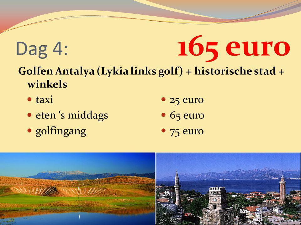 Dag 4: 165 euro. Golfen Antalya (Lykia links golf) + historische stad + winkels. taxi. eten 's middags.