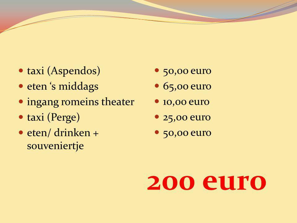 200 euro taxi (Aspendos) 50,00 euro eten 's middags 65,00 euro
