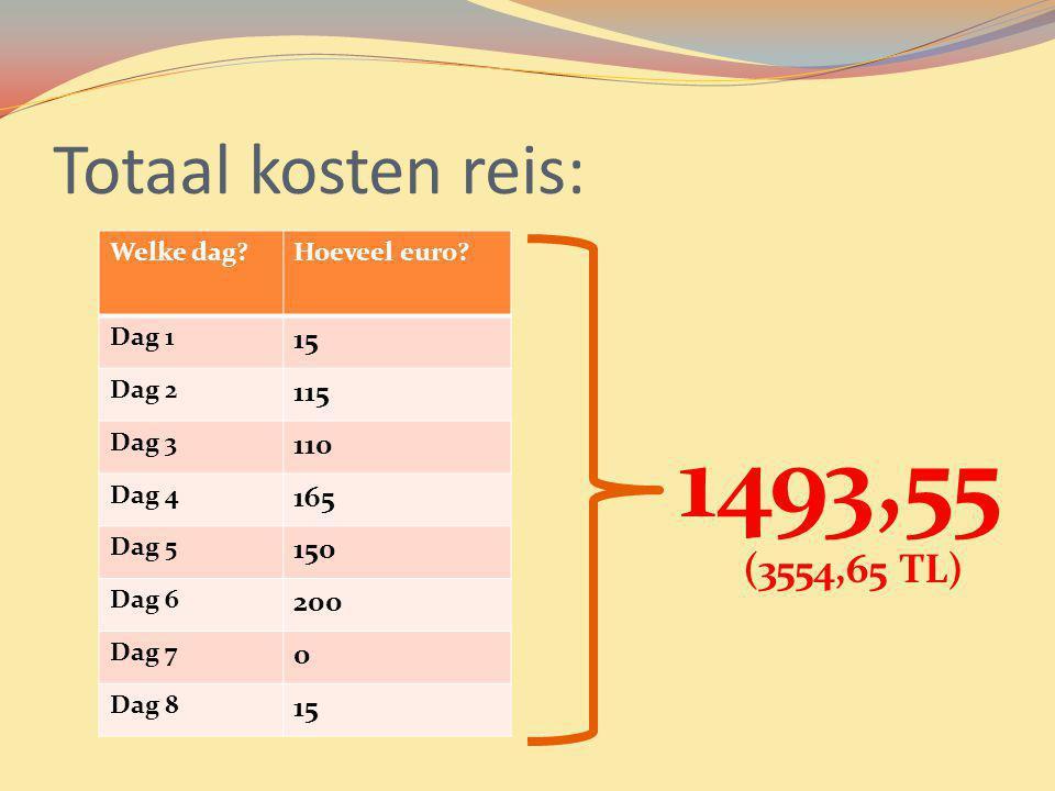 1493,55 Totaal kosten reis: (3554,65 TL) 15 115 110 165 150 200